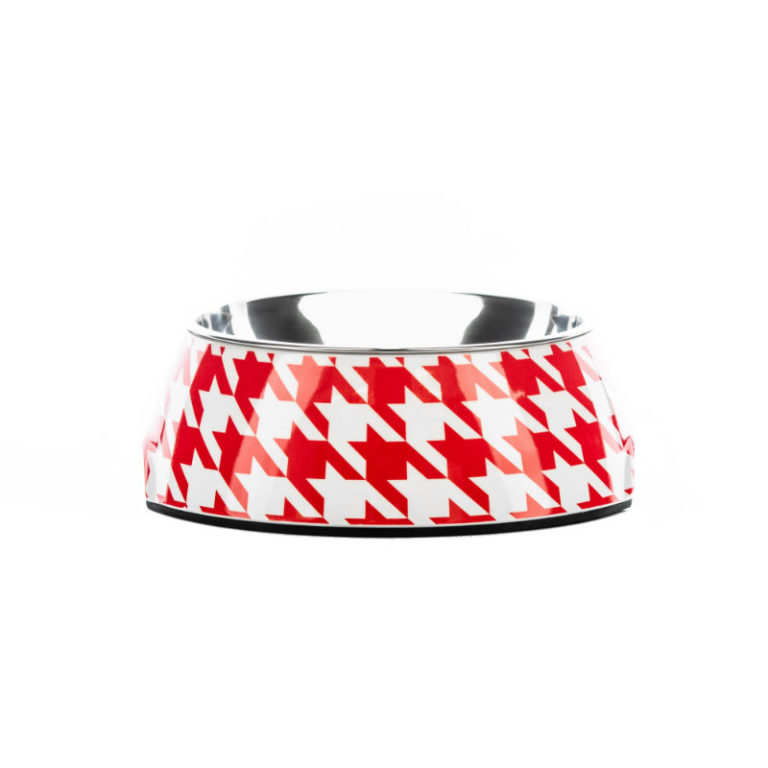 stylish-designer-dog-bowls-houndztooth-red